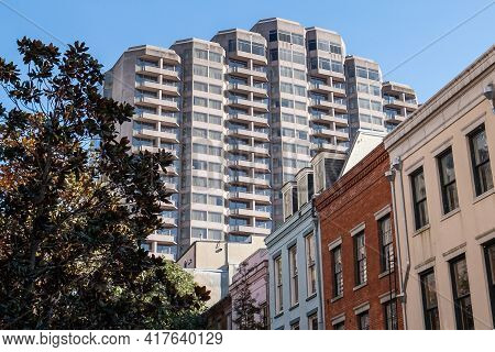 New Orleans, La - February 2: Exterior Of Windsor Court Hotel And Nearby Buildings Downtown On Febru