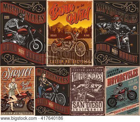 Motorcycle Vintage Posters With Skeleton Motorcyclists Pretty Biker Girl Attractive Woman Holding Sp