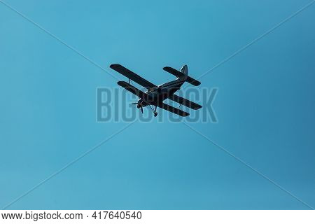 Skydivers Jump Out Of The Plane From A Great Height. The Adrenaline Of Extreme Sports. Skydiver In F