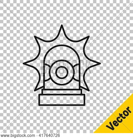 Black Line Flasher Siren Icon Isolated On Transparent Background. Emergency Flashing Siren. Vector