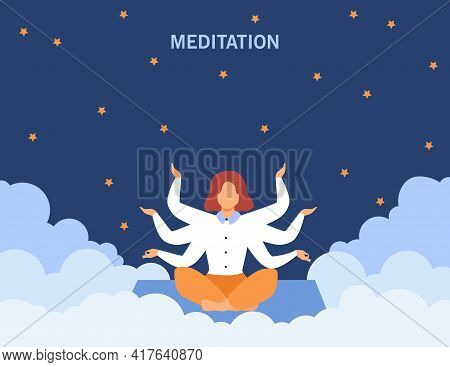 Calm Woman Sitting And Meditating At Night. Hand, Star, Consciousness Flat Vector Illustration. Medi