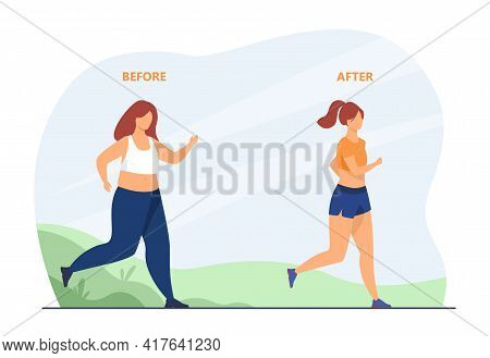 Woman Running For Sake Of Slim Body. Result, Weight, Jogging Flat Vector Illustration. Healthy Lifes