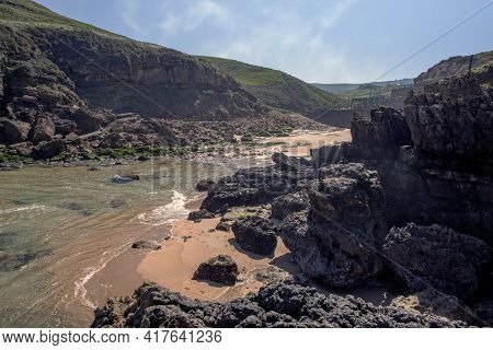 Panoramic Of Sea And Mountains In A Cantabrian Sea Coast In Spain