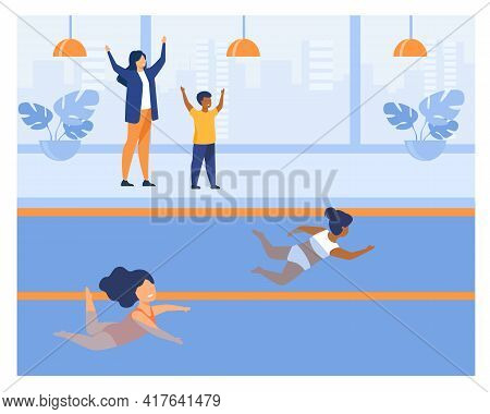 Two Little Girls Participating In Swimming Contest. Swimsuit, Pool, Water Flat Vector Illustration.