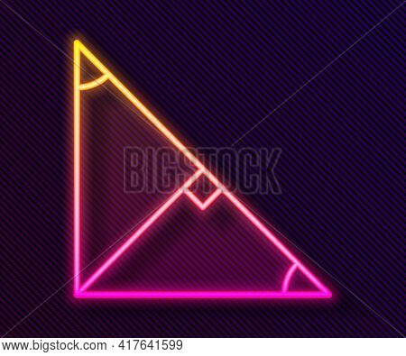 Glowing Neon Line Angle Bisector Of A Triangle Icon Isolated On Black Background. Vector