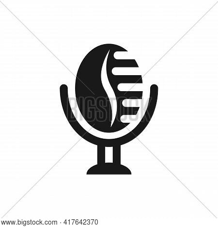 Illustration Vector Graphic Of Logo Coffee Podcast. Simple Microphone With Classic Style. Suitable F