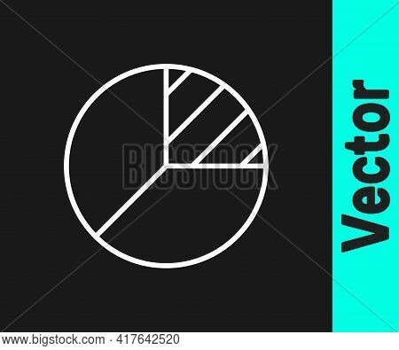 White Line Pie Chart Infographic Icon Isolated On Black Background. Diagram Chart Sign. Vector