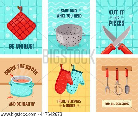 Vivid Greeting Card Designs With Kitchen Utensils. Oven Gloves, Knifes, Pot With Broth, Strainer. Co