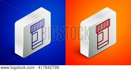 Isometric Line Medicine Bottle And Pills Icon Isolated On Blue And Orange Background. Bottle Pill Si