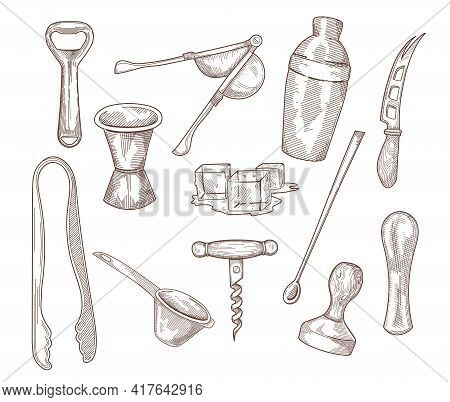 Bartender Equipment Kit Hand Drawn Sketches Set. Professional Cocktails And Coffee Making Tools: Sha