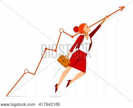 Businesswoman Pushes Growth Graph Chart Up To Financial Success Vector Illustration, Motivated Busin