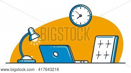 Place Of Work Office Table Desk Vector Flat Illustration Isolated Over White, Work From Home Comfort