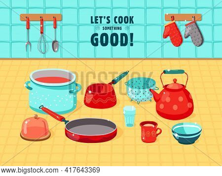 Colorful Background Design Of Various Kitchen Utensils. Kettle, Bowl, Pan, Cup, Whisk, Oven Gloves,