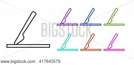 Black Line Medical Surgery Scalpel Tool Icon Isolated On White Background. Medical Instrument. Set I