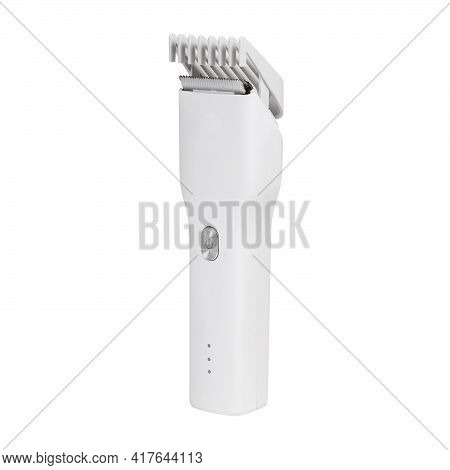 Barber Hair Clipper With Nozzle Side View Isolated On White Background. White Hair Clipper