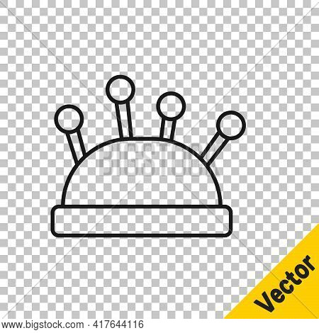 Black Line Needle Bed And Needles Icon Isolated On Transparent Background. Handmade And Sewing Theme