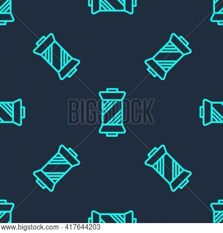 Green Line Sewing Thread On Spool Icon Isolated Seamless Pattern On Blue Background. Yarn Spool. Thr