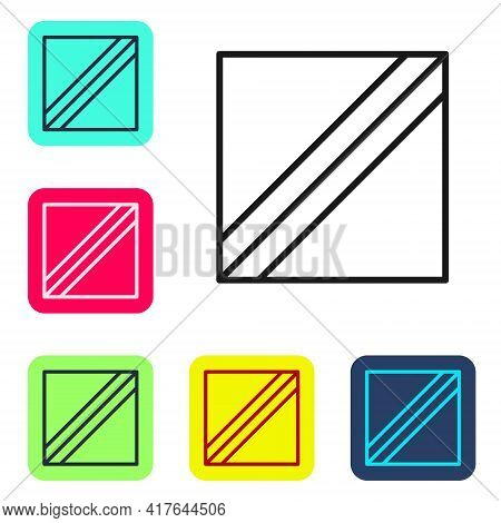 Black Line Textile Fabric Roll Icon Isolated On White Background. Roll, Mat, Rug, Cloth, Carpet Or P