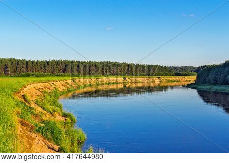 Summer Landscape With River Forest And Blue Sky