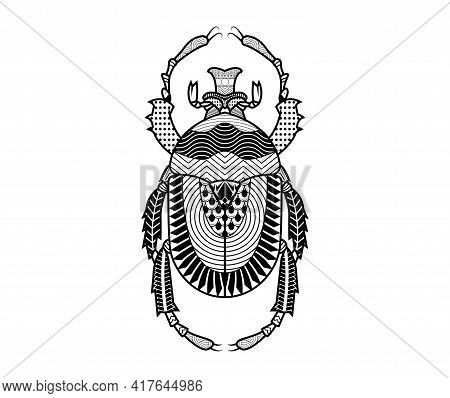 Vector Beetle Of Hand Drawn Insects Illustrations. Abstract Black Insect Coloring Book.
