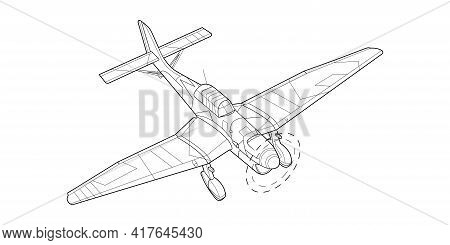Lineart Adult Military Aircraft Coloring Page For Book And Drawing. Airplane. Vector Illustration. V