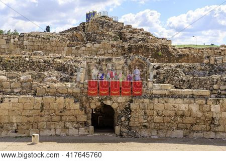 Kiryat Gat, Israel, March 27, 2021 : The Reconstruction Of The Ancient Beit Guvrin Amphitheater In T