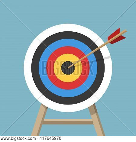 Target With An Arrow, Standing On A Tripod. Archery Or Business Goal Concept. Vector Illustration Is