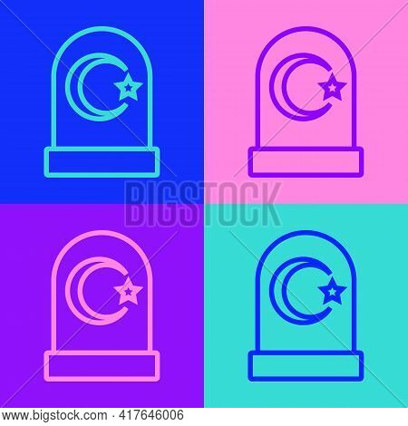 Pop Art Line Muslim Cemetery Icon Isolated On Color Background. Islamic Gravestone. Vector