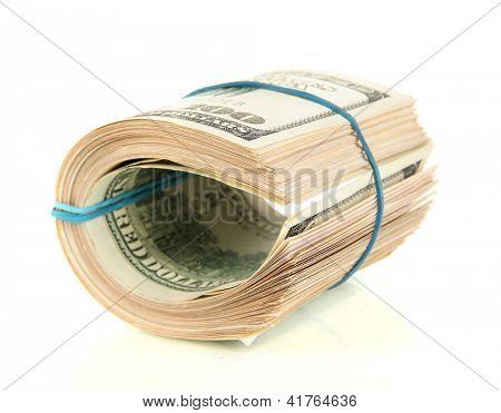 Twisted bundle 100 dollar bills isolated on white