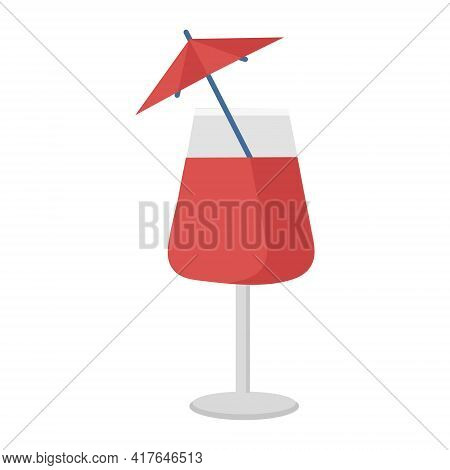 Red Cocktail Glass For Quenching Thirst In The Summer On A White Background