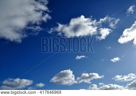 Sky landscape. Sky background. Dramatic blue sky background, vast sky landscape panoramic scene, sunny sky landscape view. Blue sky background, vast sky landscape, sky scene with dramatic clouds.