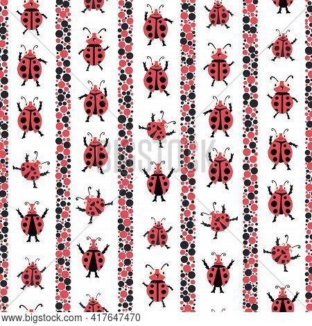 Cute Dancing Ladybirds Stripe Seamless Vector Pattern Background. Kawaii Ladybugs In Childlike Drawi