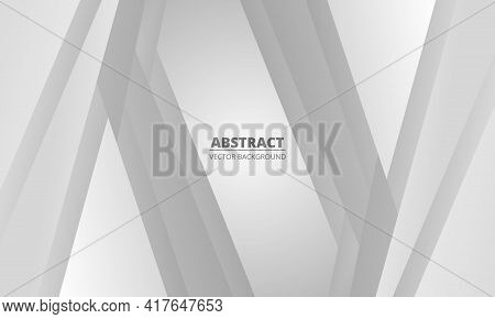 Silver And Soft Grey Abstract Metallic Background With Lines. Modern Light Banner With Paper Lines.