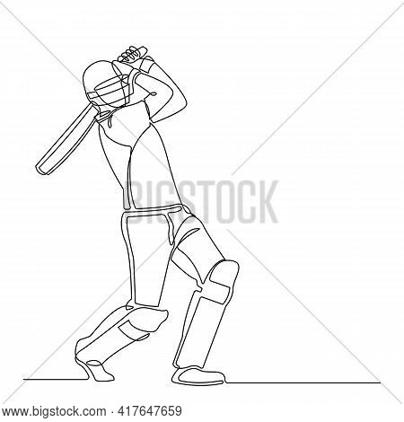 Continuous Line Drawing Of Playing Cricket. Sport Player Continuous Single Line Art Vector Illustrat