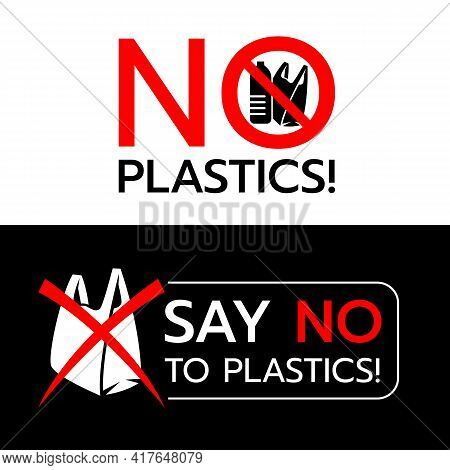 No Plastics Banner, Say No Plastics Banner With Stop Plastic Bag And Plastic Pollution Sign Vector D