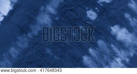 Indigo Striped Tie Dye. Night Paint Ethnic Ornament. Seaside Paintbrush Spots. Navy Ethnic Textile B