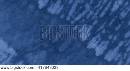 Indigo Stripe Batik Print. Sea Geometric Ethnic Design. Ocean Hand Drawn Strokes. Blue Abstract Ethn