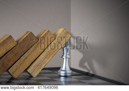 Crisis Management, Leadership, Crisis Solving Or Problem Solving Concept. King Chess Stopping Wooden