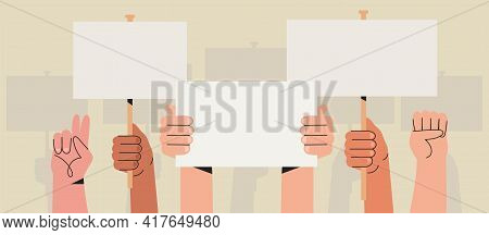 Vector Illustration Of People Holding Signs, Banner And Placards On A Protest Demostration Or Picket
