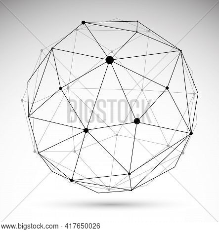 Abstract 3d Mesh Sphere Vector Illustration, Dots Connected With Lines Technology Polygonal Object I