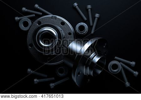 Vehicle Parts. Auto Motor Mechanic Spare Or Automotive Piece On Dark Background. Set Of New Metal Ca