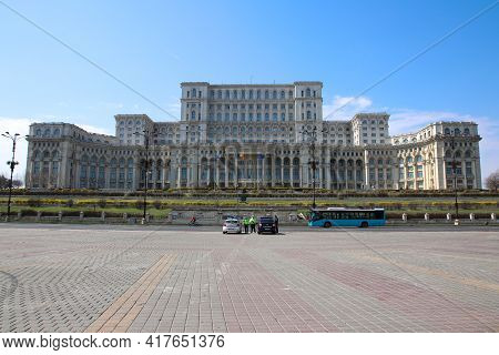 Bucharest, Romania - March 26, 2021: A Frontal View Of The Parlament Palace In Bucharest, Romania.