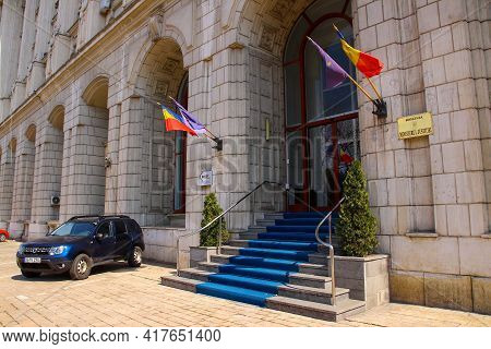 Bucharest, Romania - March 26, 2021: View Of The Entrance Of Ministry Of Justice Building.