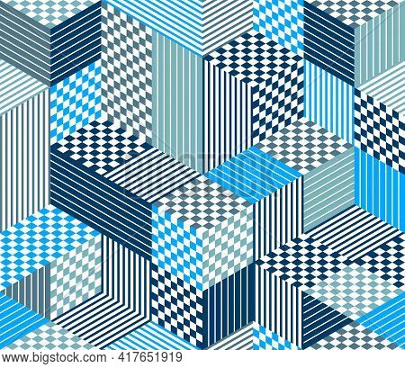 Seamless Cubes Vector Background, Rhombus And Triangles Boxes Repeating Tile Pattern, 3D Architectur