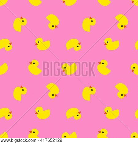 Yellow Rubber Ducks With Orange Beaks And Black Eyes On Pink Background, Seamless Pattern