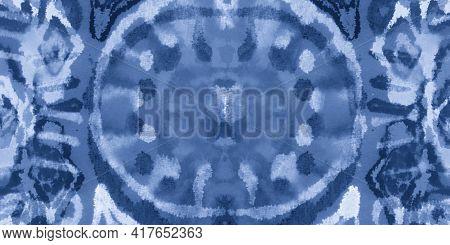 Abstract Aquarelle Texture. Indigo Denim Grunge Print. Crumpled Vintage Craft. Abstract Watercolour