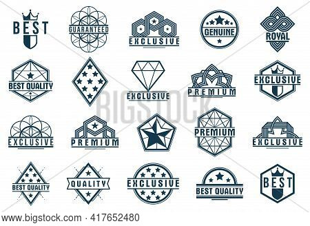 Badges And Logos Collection For Different Products And Business, Black And White Premium Best Qualit