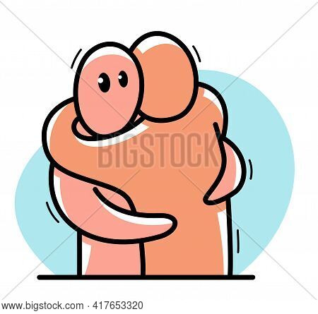 Two Funny Cartoon Men Hugging Each Other Funny Cartoon Flat Style Vector Illustration Isolated, Frie