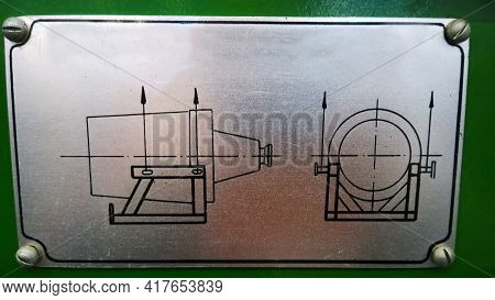 Generator And Engine Sling Scheme. Point Of Lift Drawing. Lifting Diagram. Metal Nameplate On Equipm