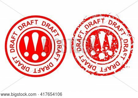 Vector 2 Style Red Scratch Circle Rubber Stamp, Draft,  At Isolated On White.